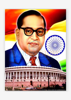 Dr. Ambedkar with Parliament Poster Size 18 x 23 inches
